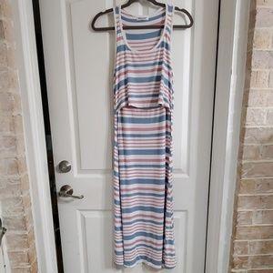 Nursing maxi dress lightweight striped racerback
